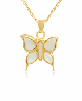 Butterfly with Mother of Pearl Gold Vermeil Cremation Jewelry Necklace