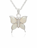 Butterfly with Mother of Pearl Sterling Cremation Jewelry Necklace