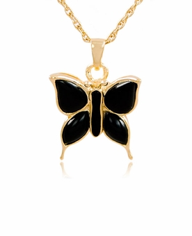 Butterfly with Onyx Gold Vermeil Cremation Jewelry Pendant Necklace