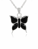 Butterfly with Onyx Sterling Silver Cremation Jewelry Pendant Necklace