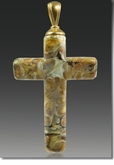 Calico Cross Cremains Encased in Glass Cremation Jewelry Pendant
