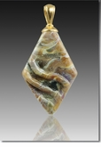 Calico Rhombic Cremains Encased in Glass Cremation Jewelry Pendant