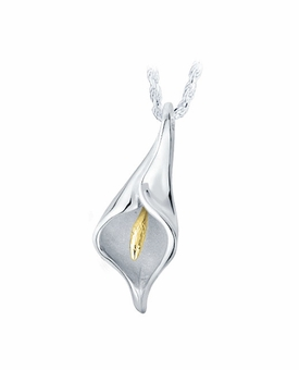 Calla Lilli Sterling Silver with Gold Cremation Jewelry Pendant Necklace