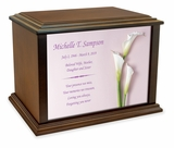 Calla Lillies Eternal Reflections Wood Cremation Urn - 4 Sizes