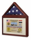 Capitol Flag Display Case with Certificate or Medal Display Case in Dark Cherry Finish - Imported