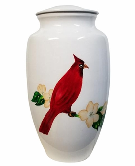 Cardinal on Dogwood Hand Painted Cremation Urn