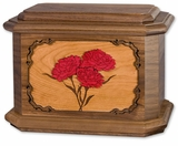 Carnations with 3D Inlay Walnut Wood Octagon Cremation Urn
