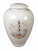 Carolina Lighthouse Handmade Classic Vase Porcelain Cremation Urn