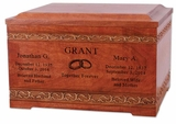 Carved Borders Cherry Wood Companion Cremation Urn