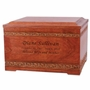 Carved Borders Cherry Wood Cremation Urn