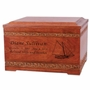 Carved Borders Cherry Wood Cremation Urn and Memory Chest