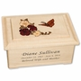 Cascading Roses and Butterfly Maple Wood Cremation Urn