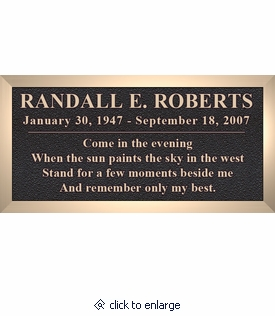 Cast Bronze Memorial Cemetery Marker With Text - 4 Sizes