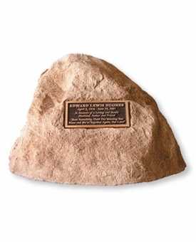 Cast Stone Celebration Pet Memorial Rock with Bronze Plaque