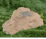 Coolidge Cast Stone Pet Memorial Rock with Bronze Plaque - Optional Cremation Urn