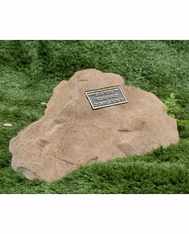 Cast Stone Pet Memorial Rock with Bronze Plaque and Cremation Urn - Design 10