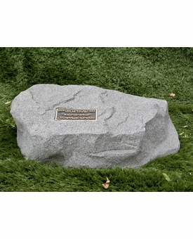 Hoover Cast Stone Pet Memorial Rock with Bronze Plaque - Optional Cremation Urn