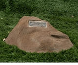 Roosevelt Cast Stone Pet Memorial Rock with Bronze Plaque - Optional Cremation Urn