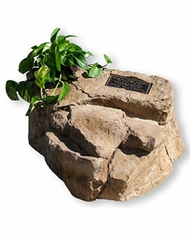 Cast Stone Valor Pet Memorial Rock with Bronze Plaque and Planter