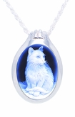 Cat Cameo Sterling Silver Pet Cremation Jewelry Pendant Necklace