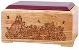 Cat Lovers Cherry and Purple Heart Wood Cremation Urn