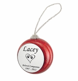 Cat Paw Prints in Heart Red Glitter Memorial Holiday Tree Ornament