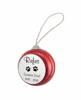 Cat Paw Prints Red Glitter Memorial Holiday Tree Ornament