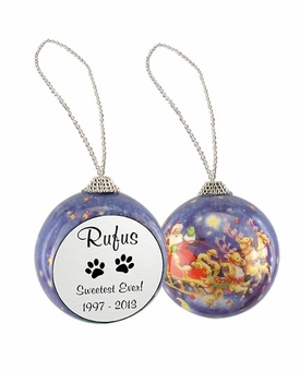 Cat Paw Prints Santa and Sleigh Memorial Holiday Tree Ornament