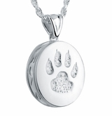 Cat Paw Sterling Silver Pet Cremation Jewelry Pendant Necklace