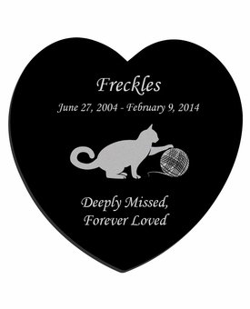 Cat Playing with Yarn Laser-Engraved Pet Black Granite Memorial Heart Plaque