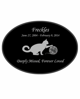 Cat Playing with Yarn Laser-Engraved Pet Black Granite Memorial Oval Plaque