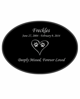 Cat Prints in Heart Laser-Engraved Pet Black Granite Memorial Oval Plaque
