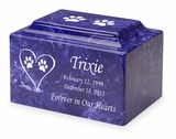 Cat Paw Prints in Heart Pet Classic Cultured Marble Cremation Urn Vault - Engravable - 34 Color Choices
