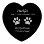 Cat Prints Laser-Engraved Pet Black Granite Memorial Heart Plaque