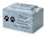 Cat Paw Prints Pet Classic Cultured Marble Cremation Urn Vault - Engravable - 34 Color Choices
