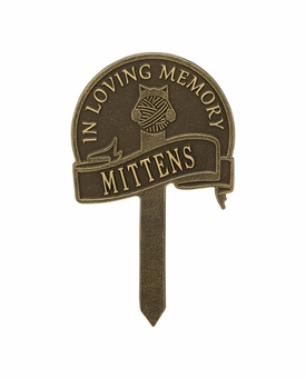 Personalized Cat With Yarn Lawn and Garden Memorial Marker - 9 Colors