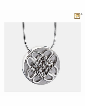Celtic Circle Two Tone Sterling Silver Cremation Jewelry Pendant Necklace