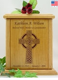 Celtic Cross Engraved Wood Cremation Urn
