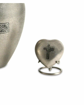 Celtic Cross Heart Brass Keepsake Cremation Urn
