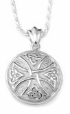 Celtic Cross Round Sterling Silver Cremation Jewelry Pendant Necklace