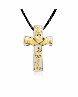 Celtic Knots with Heart Stainless Steel with Gold Finish Accents Cremation Jewelry Pendant Necklace