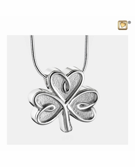 Celtic Shamrock Two Tone Sterling Silver Cremation Jewelry Pendant Necklace