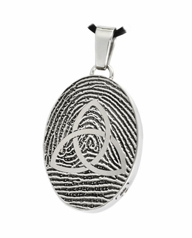 Celtic Trinity Knot over Fingerprint Oval Stainless Steel Memorial Cremation Pendant Necklace
