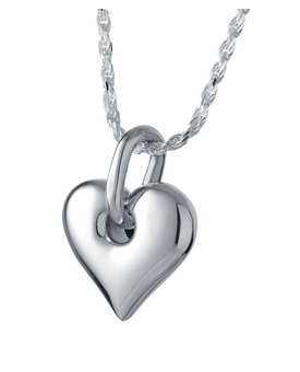 Center Heart Sterling Silver Cremation Jewelry Pendant Necklace
