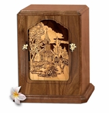 Chapel Dimensional Heirloom Walnut Wood Cremation Urn