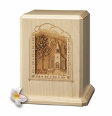 Chapel Laser Carved Maple Wood Cremation Urn