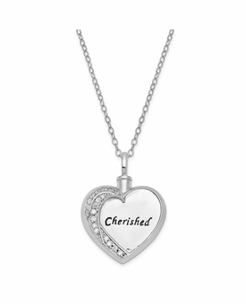 Cherished Antiqued Heart with CZ Stones Sterling Silver Cremation Jewelry Pendant