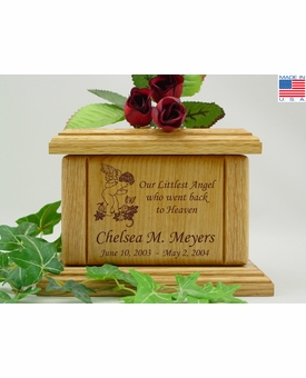 Cherub and Butterfly Infant Engraved Wood Cremation Urn