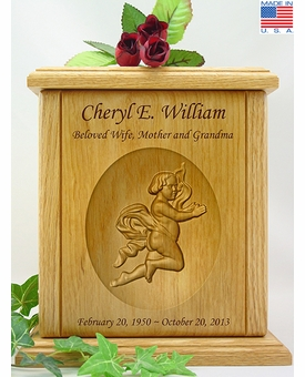 Cherub Relief Carved Engraved Wood Cremation Urn