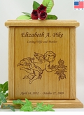 Cherubs With Flowers Engraved Wood Cremation Urn